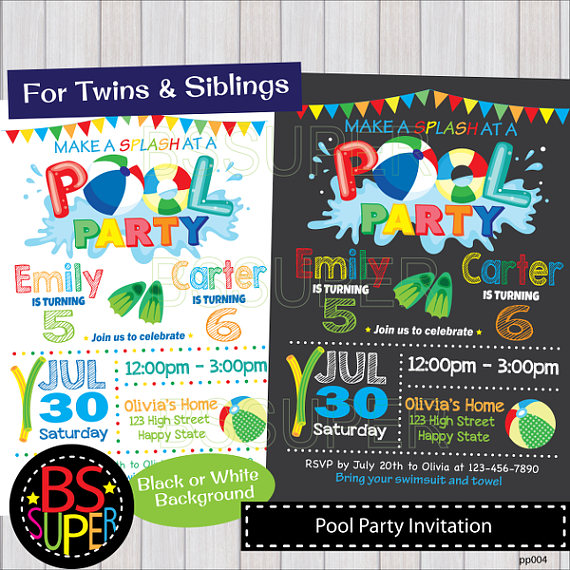POOL PARTY Invitation Two Kids Pool Party Birthday Twins Double Invite