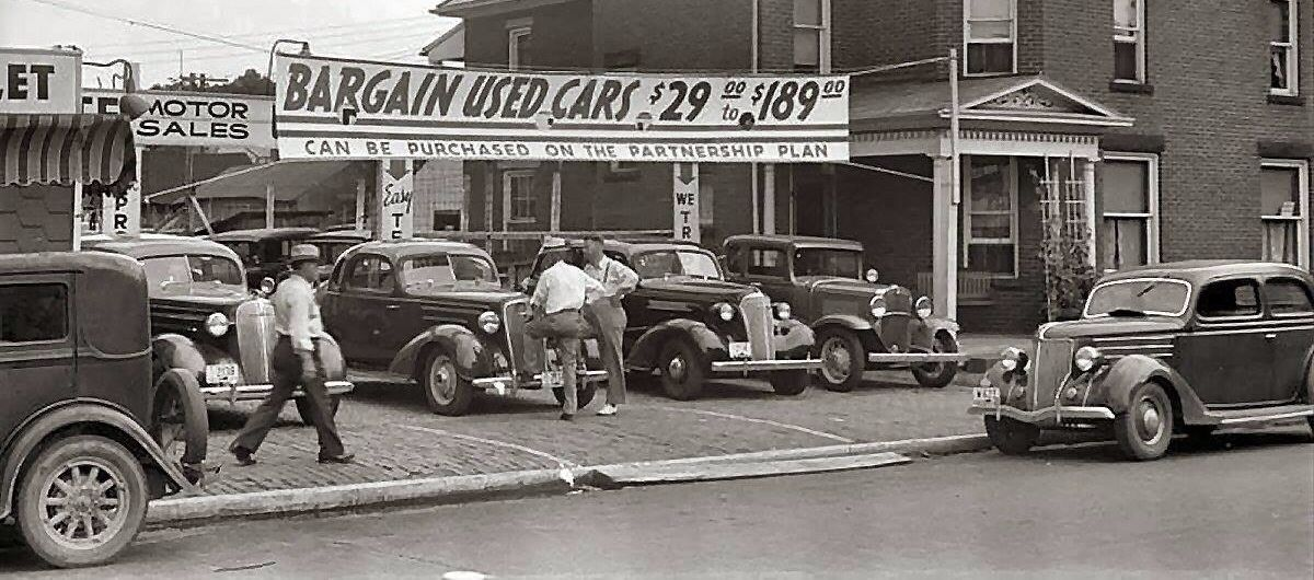 Image result for used car lot 1940s