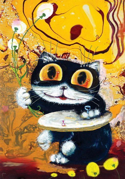 Картинки нарисованные с кошками прикольные, картинки пьяными хохлами
