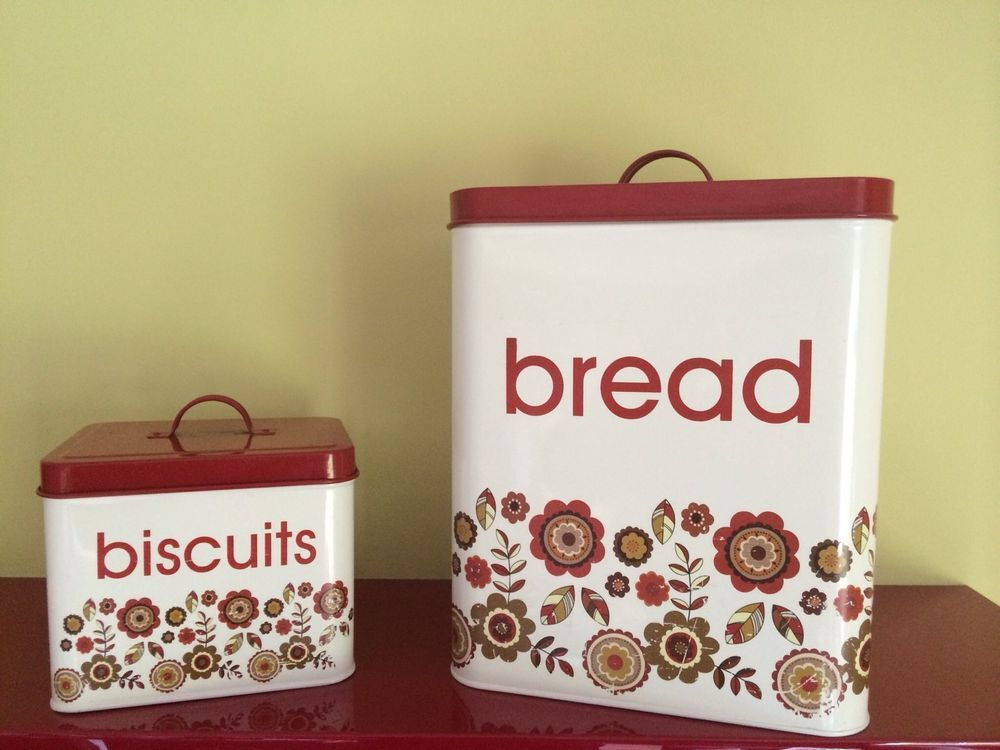 Tall Vintage Bread Bin Retro Red Cream Scandinavian 60s 70s Style Storage Tin Bread Bin Vintage Bread Boxes Bread