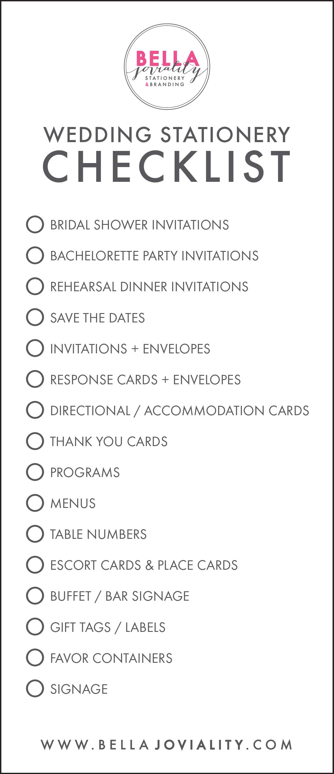 Free Wedding Stationery Checklist Download Free Wedding