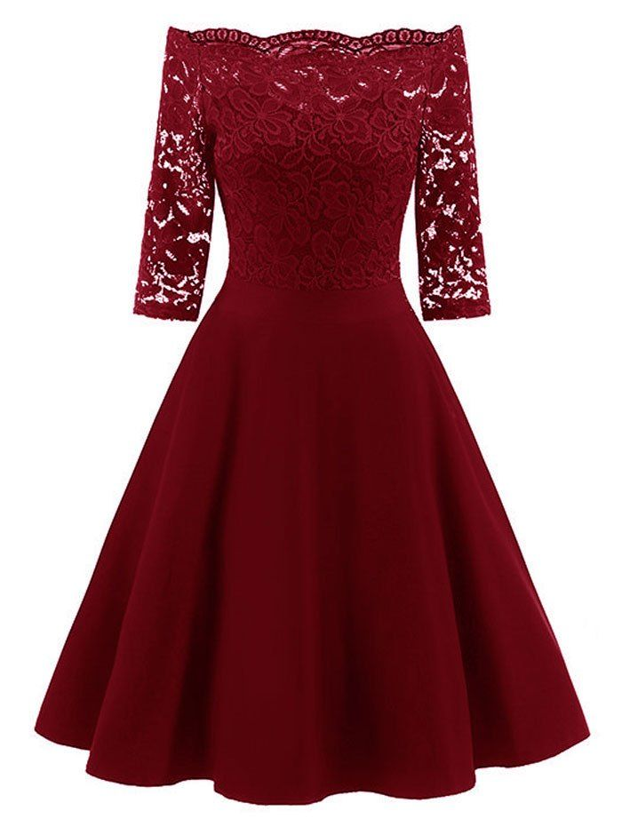 Vestidos elegantes cortos vinotinto