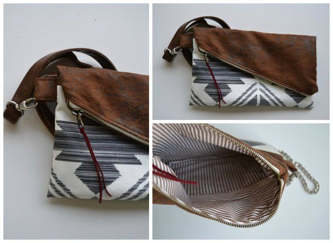 Easy To Sew Fold Over Bag Pattern Your Own Purse That Looks Like You Bought It By Using Interesting Materials And This Simple But Stylish