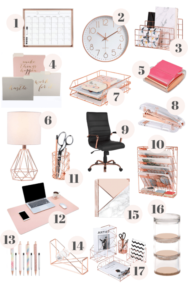 Rose Gold Office Decor From Amazon In 2020 Rose Gold Room Decor Gold Office Decor Gold Room Decor