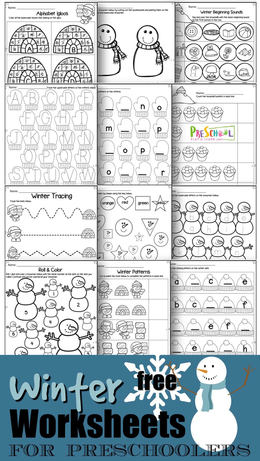 Free Winter Worksheets For Preschoolers