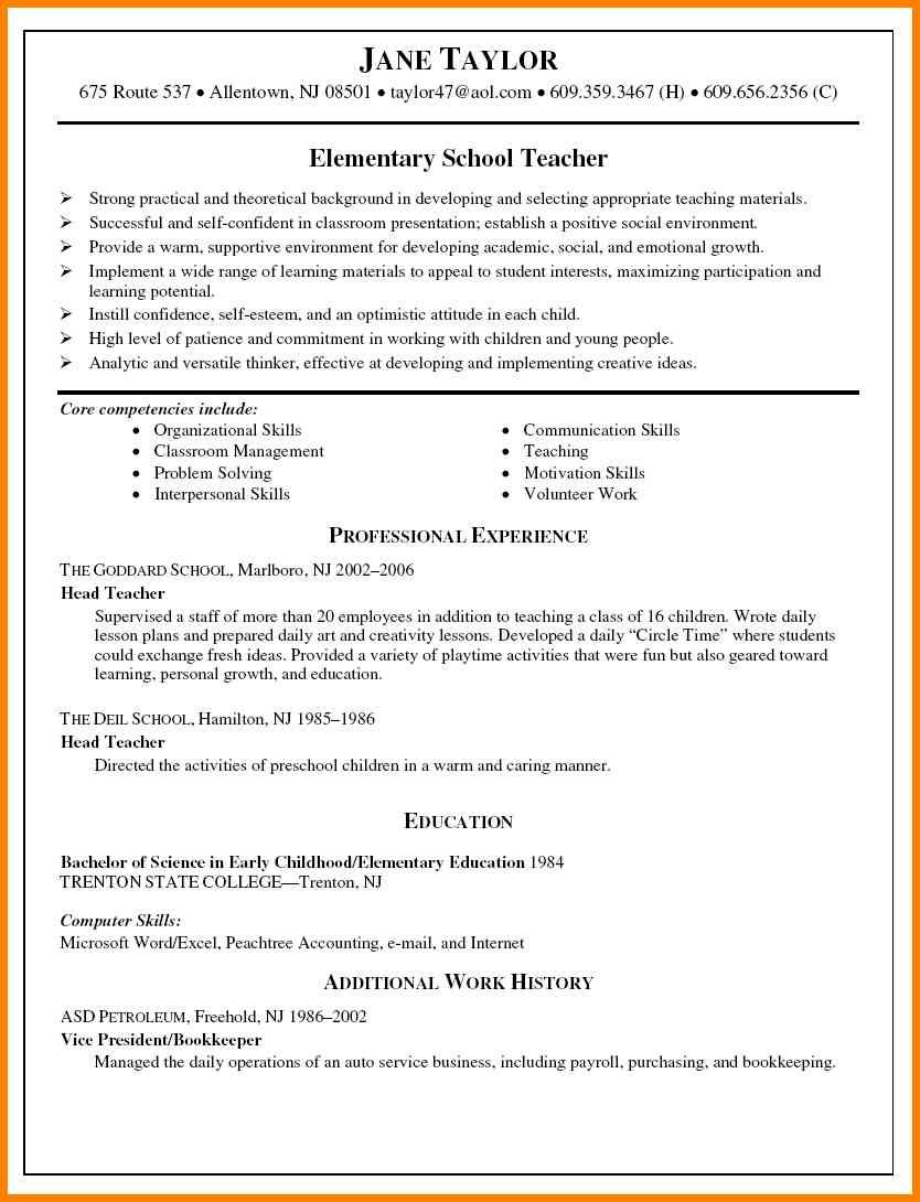 Elementary School Teacher Resume 4 Elementary Teacher Resume Format  Cashier Resumes  Lesson