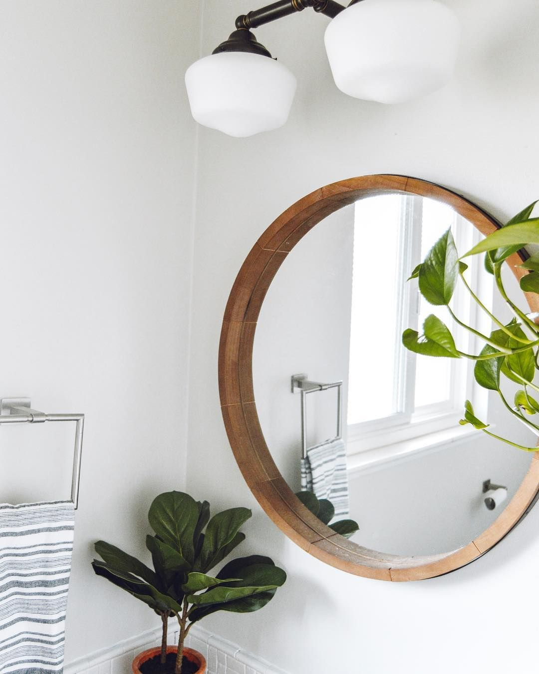 Round Decorative Wall Mirror Wood Barrel Frame Threshold Round Mirror Bathroom Small Bathroom Decor Wood Wall Mirror