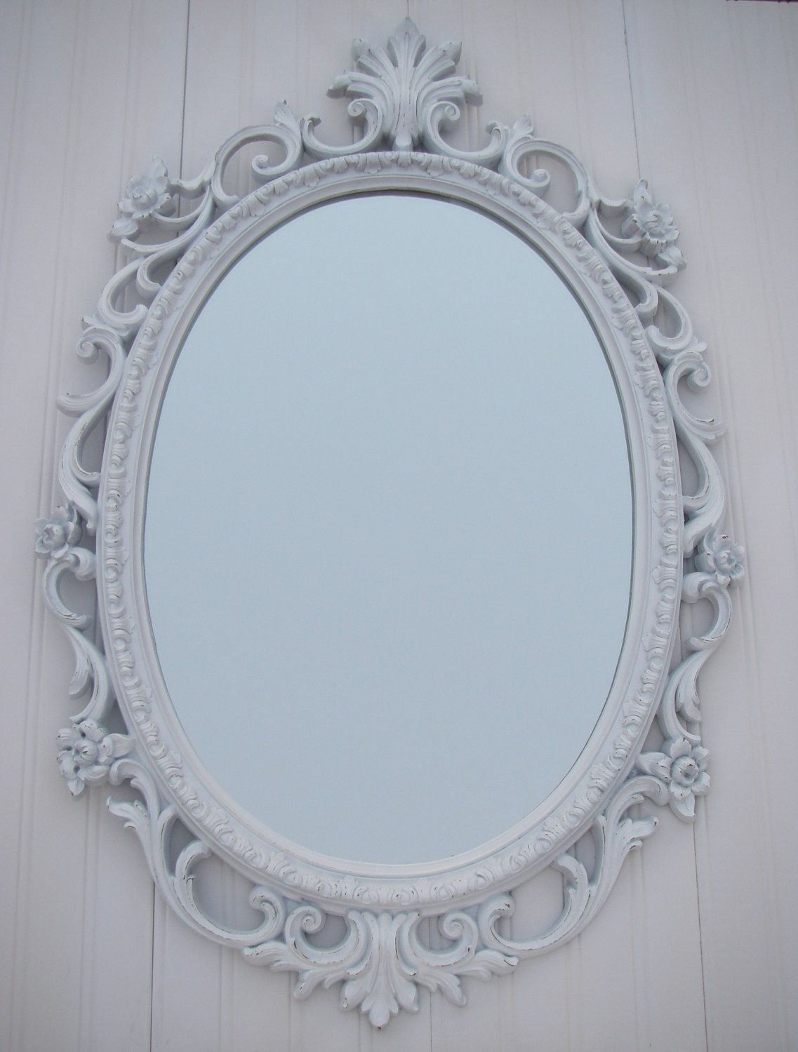 Vintage White Mirror Frame Homco Oval Shabby French Country Wedding White Mirror Frame French Mirror Frame Mirror Frames