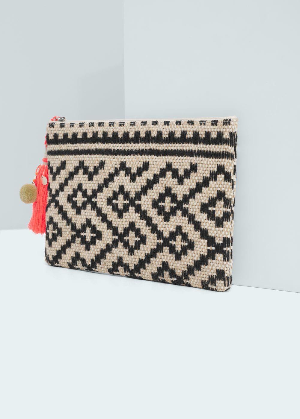Jute Jacquard Clutch Women Crochet Häkeln Tasche Häkeln Stricken