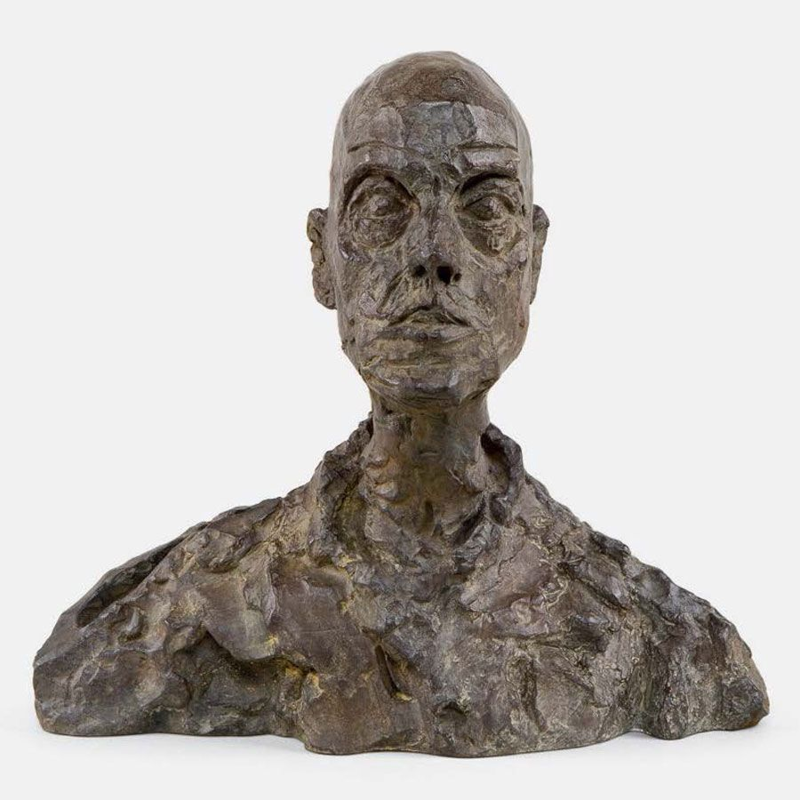ALBERTO GIACOMETTI Head Of A Man Lotar I C Cast - This beautiful bronze sculpture has been attached to a tree since 1968