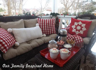 Our Family Inspired Home: Christmas Side Porch 2013 (Would be great for a sledding party and outdoor hot cocoa station). #sideporch