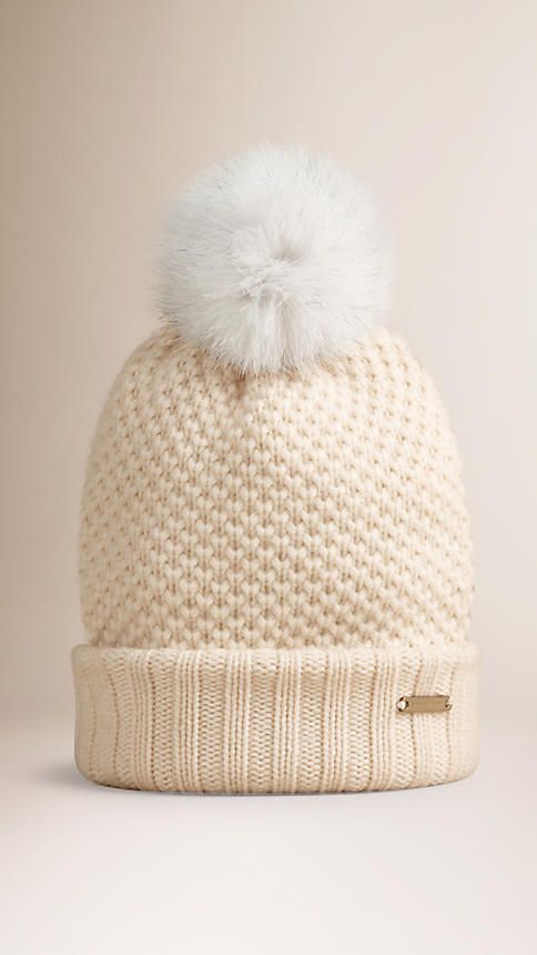 dae259cb9e4ce Burberry warm wool cashmere beanie with fur pom-pom Finished with a ribbed  hem. Discover more accessories at Burberry.com