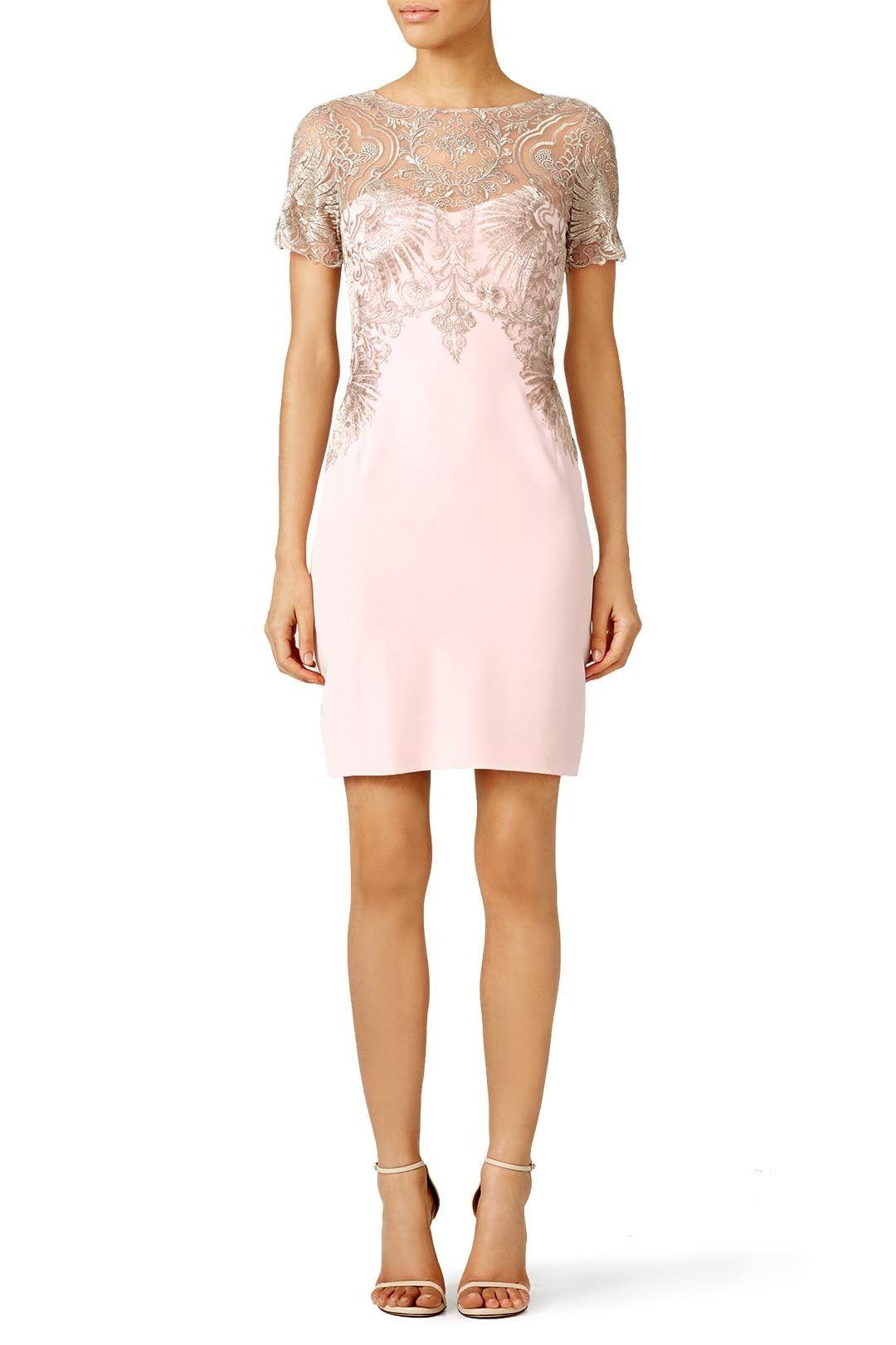 Marchesa Notte Blush Buckingham Sheath Semi Formal Dresses For Wedding Dresses Dress To Impress [ 1620 x 1080 Pixel ]