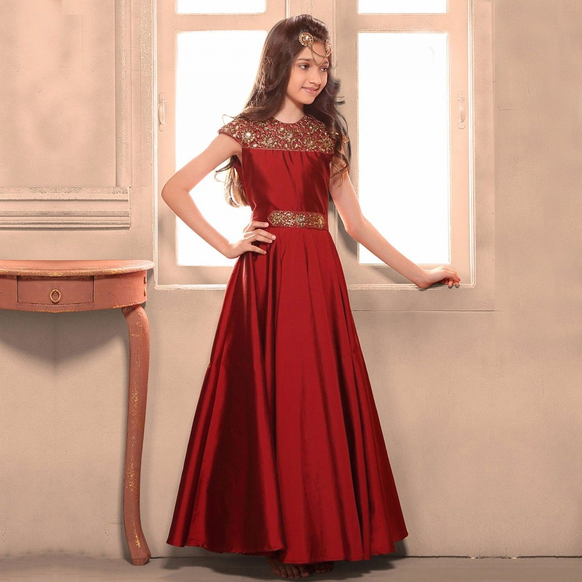 c8142af569b Buy Red Cotton Silk Embroidered Gown for kids online India, Best ...
