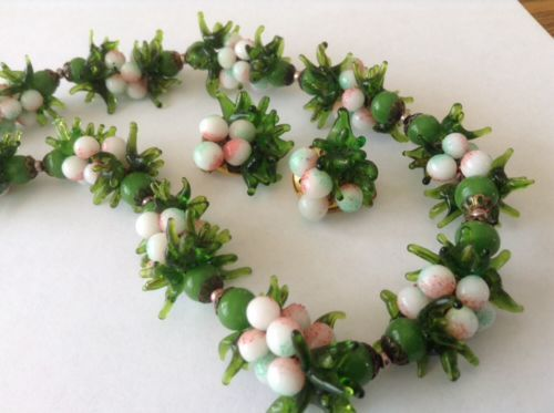 "Vintage Signed"" Italian Green Glass ""Beaded Necklace & Earrings / Very Pretty!"
