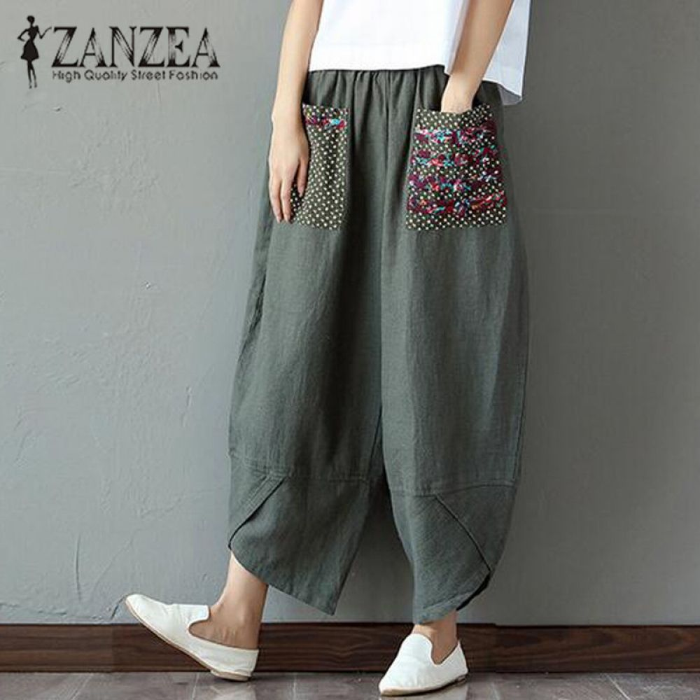 f98439a108c 2017 ZANZEA Autumn Cotton Casual Loose Long Trousers Baggy Pantalon Women  Elastic Waist Retro Print Linen