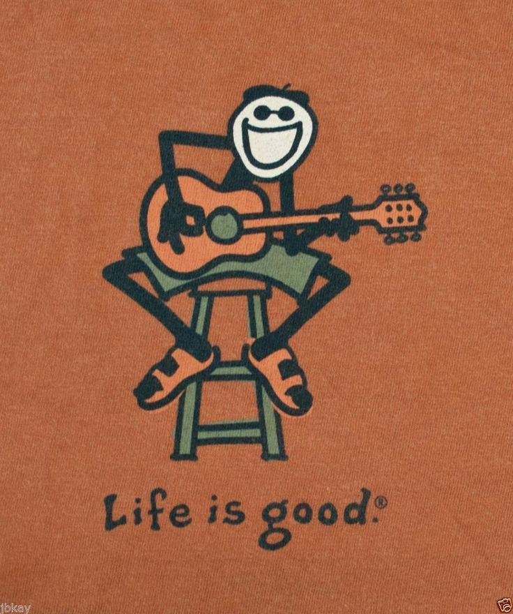 ba59200cbc1 graphic t-shirt LIFE IS GOOD jake playing GUITAR acoustic LONG ...