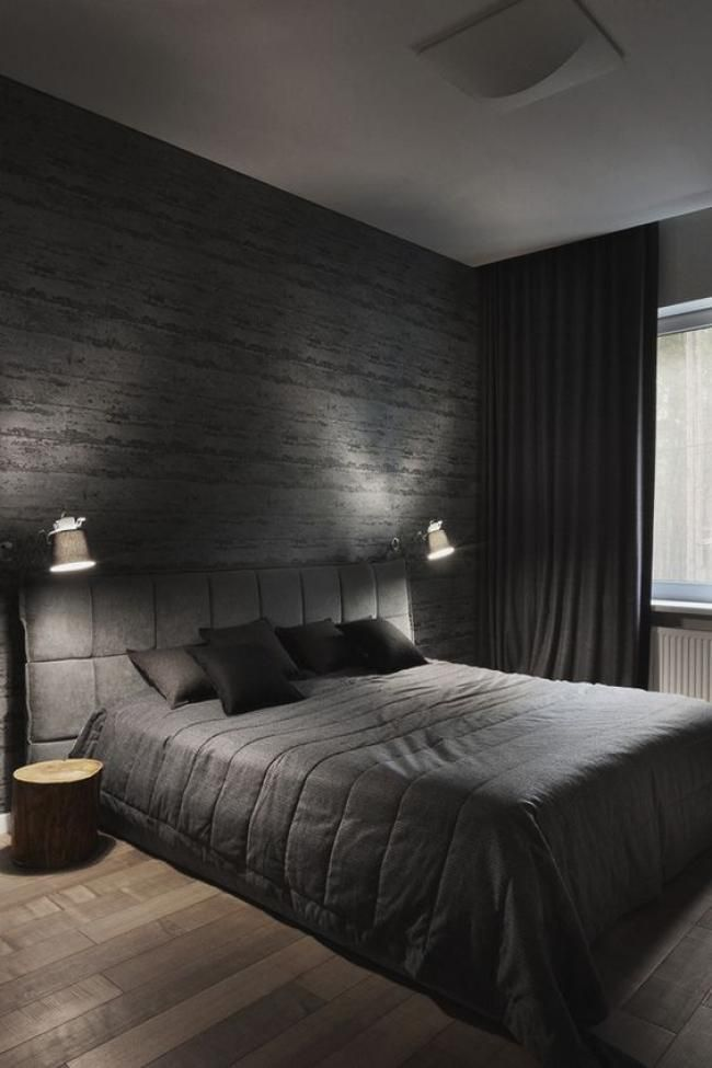 Cool Masculine Bedroom For Mens Black Color And Gray Decor Luxurious Bedrooms Modern