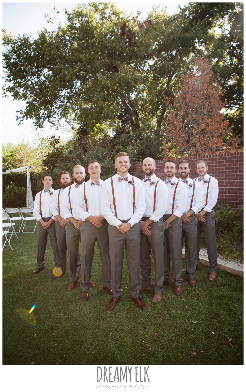 Groom And Groomsmen Wearing Suspenders Bow Ties And Gray Pants The Union On 8th Wedding Photo Wedding Groomsmen Wedding Groomsmen Attire Groomsmen Outfits