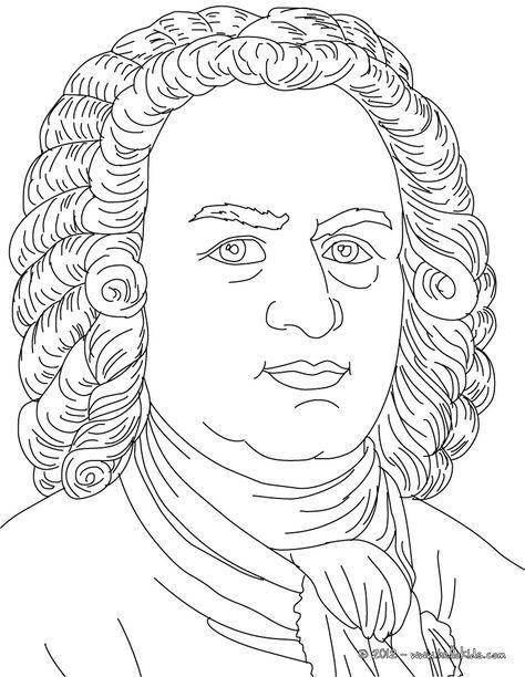 Johan Sebastian Bach Famous German Composer Coloring Page
