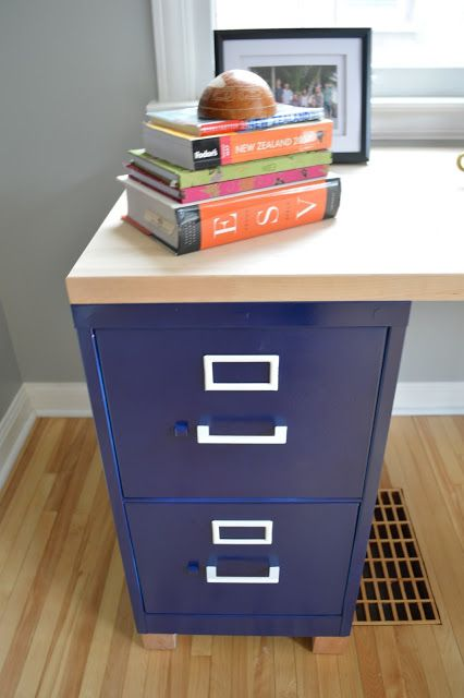 Homemade Desk : 2 Ugly Filing Cabinets Painted Navy Blue With White Accents  + 6 Foot Butcher Block (an Off The Truck Item) From Home Depot.