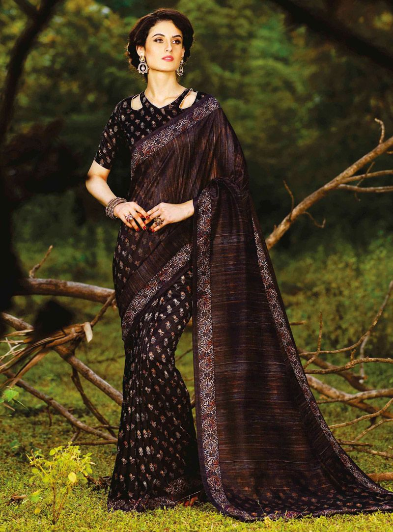 Brown silk festival wear saree silk saree pinterest