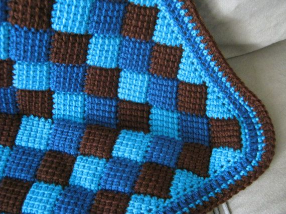 Turquesa azul marrón bebé manta afgana hecho por ForBabyCreations ...
