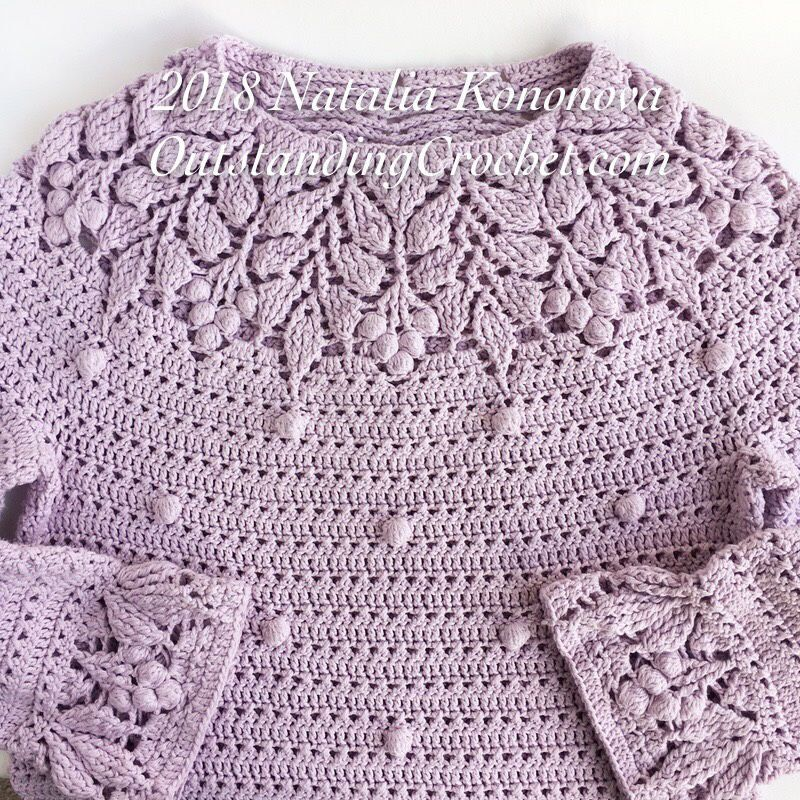 Berry Yoke Sweater crochet pattern #sweatercrochetpattern
