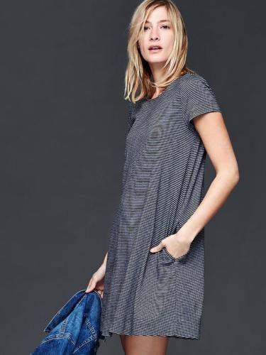 Gap Women s Navy Blue   White Mini Stripe T-Shirt Dress Size M ... a15709534