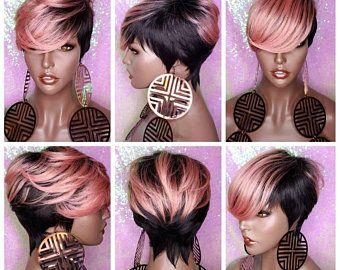 Wig Tapered Short Cut Mohawk Curl Full Cap Wig Pix