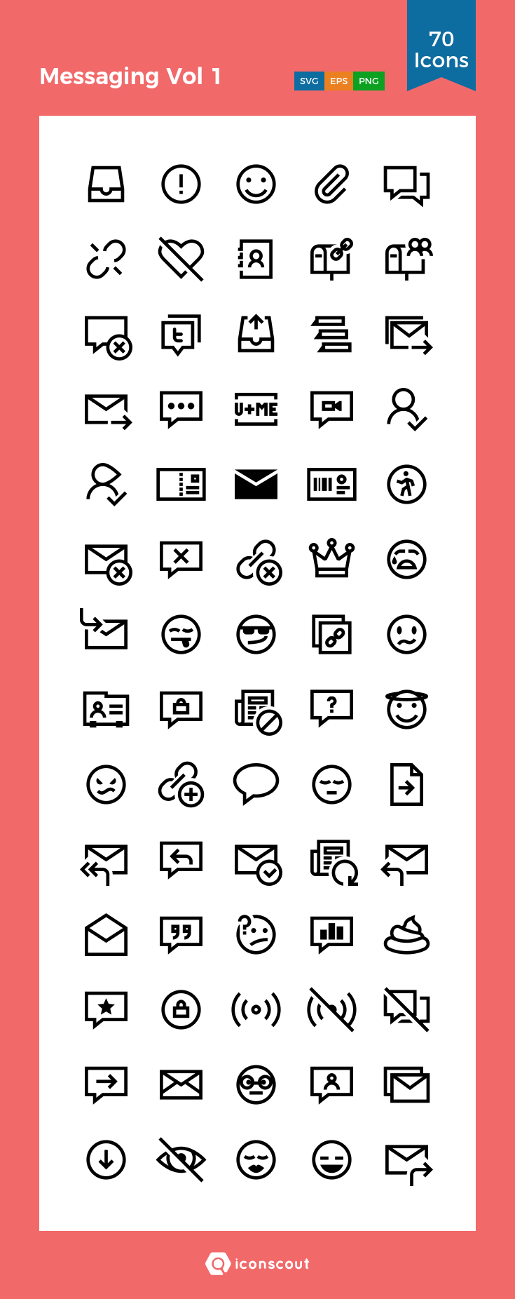 Download Messaging Vol 1 Icon Pack Available In Svg Png Eps Ai Icon Fonts Icon Pack Icon Icon Font