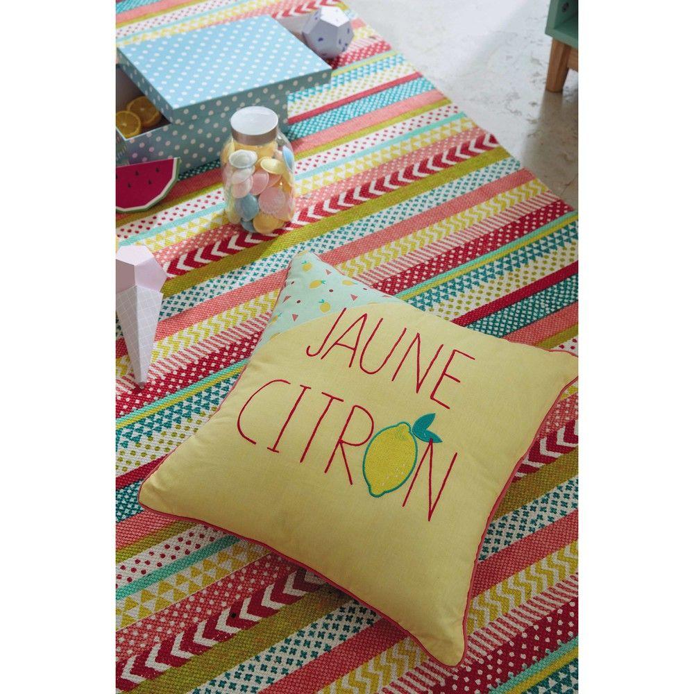 coussin jaune citron maison du monde accessoires pinterest coussins jaunes rayures et. Black Bedroom Furniture Sets. Home Design Ideas
