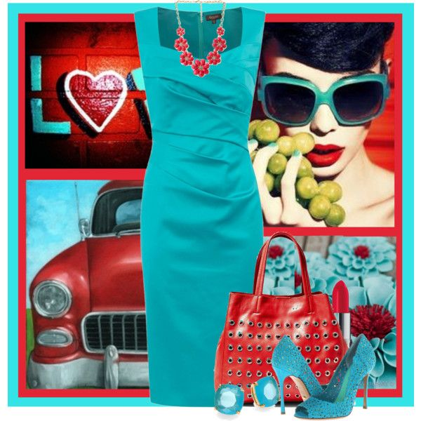 Turquoise and Red by jackie22 on Polyvore featuring Alexon, Sergio Rossi, Steve Madden, Kate Spade, Forever 21 and Elizabeth Arden