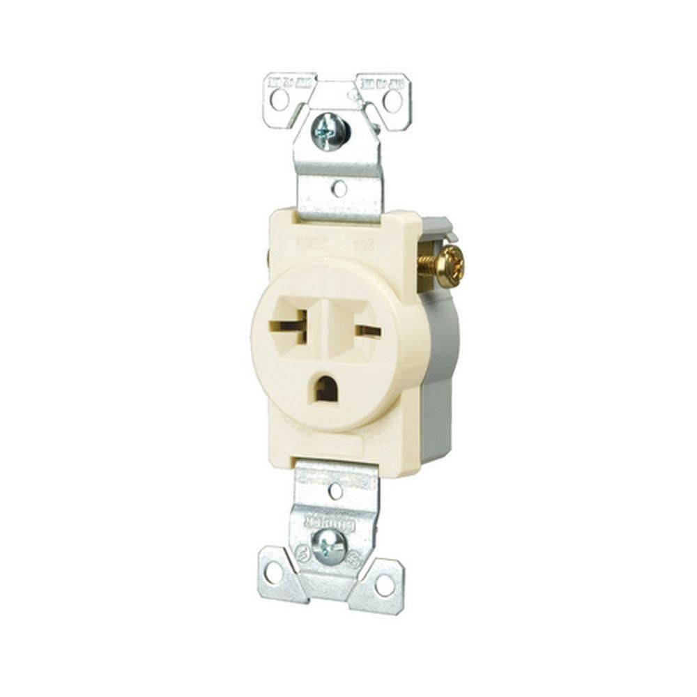 Commercial Grade 20 Amp Straight Blade Single Receptacle with Side ...