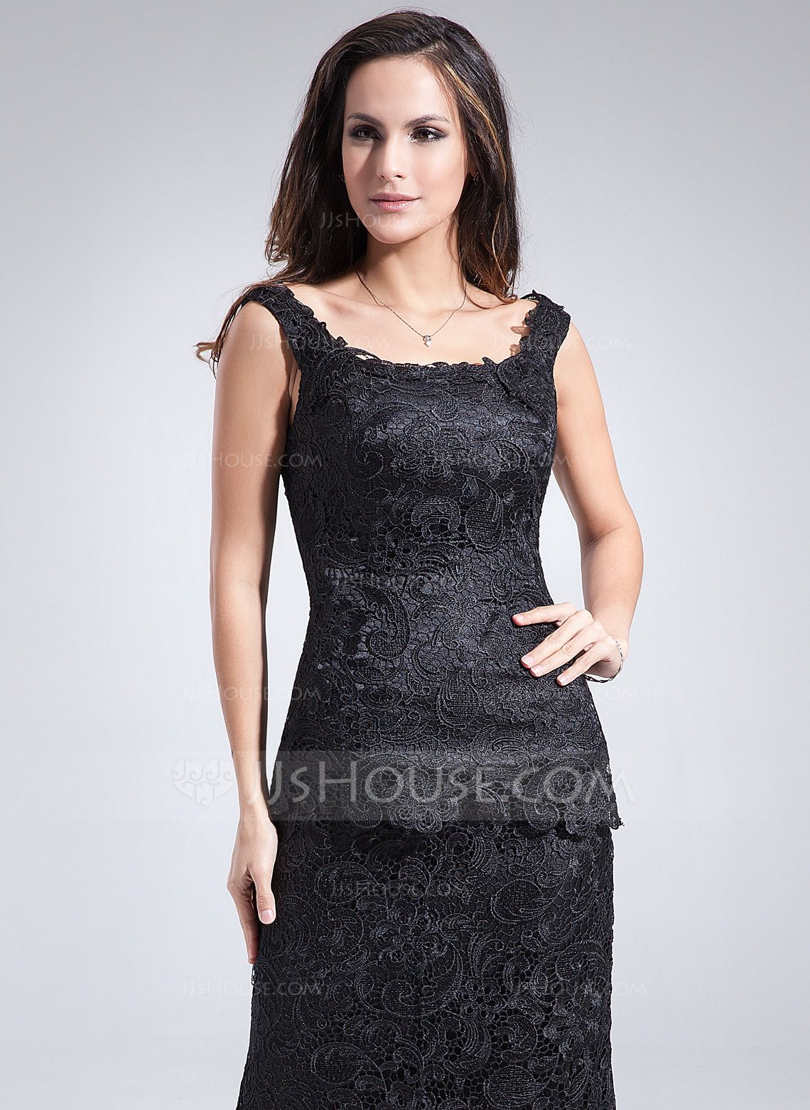 Black lace dress for summer wedding  SheathColumn Scoop Neck AnkleLength Lace Mother of the Bride Dress