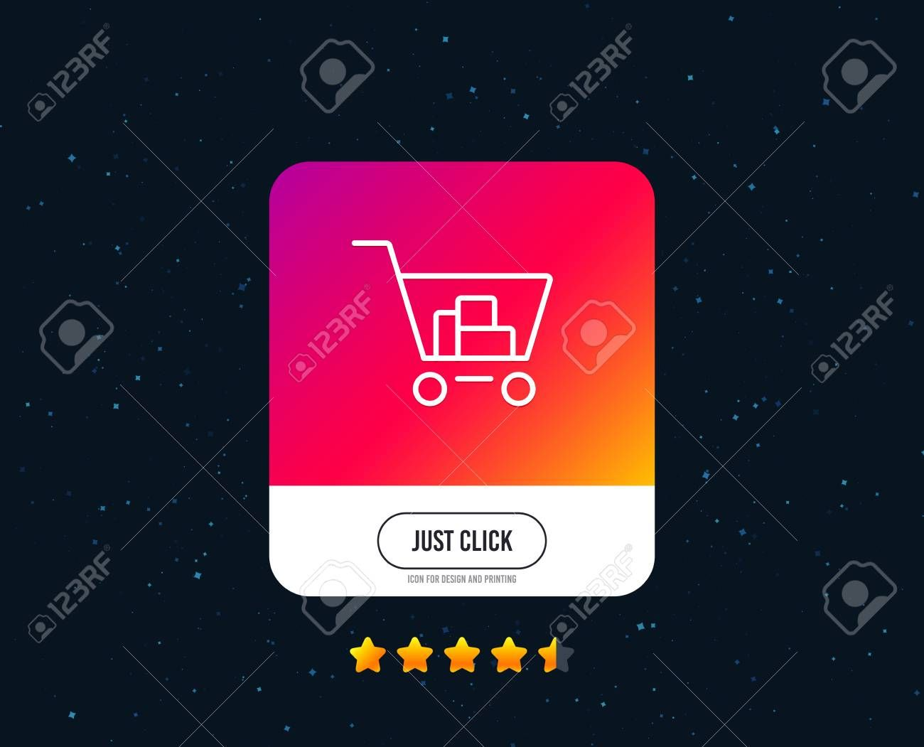 Shopping Cart Line Icon Online Buying Sign Supermarket Basket Symbol Web Or Internet Line Icon Design Rating Stars Just Click In 2020 Icon Design Design Line Icon