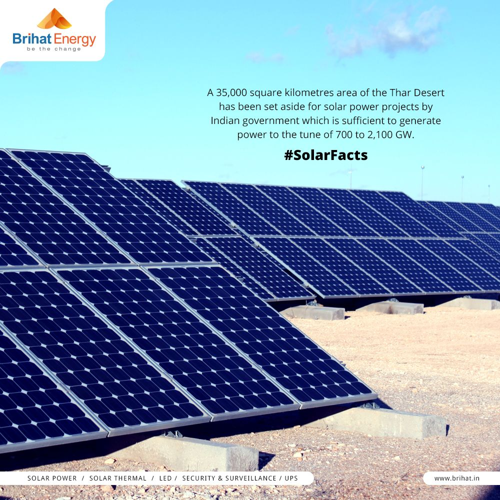 A 35 000 Square Kilometres Area Of The Thar Desert Has Been Set Aside For Solar Power Projects By Indi Solar Energy Solutions Solar Energy For Home Solar Facts