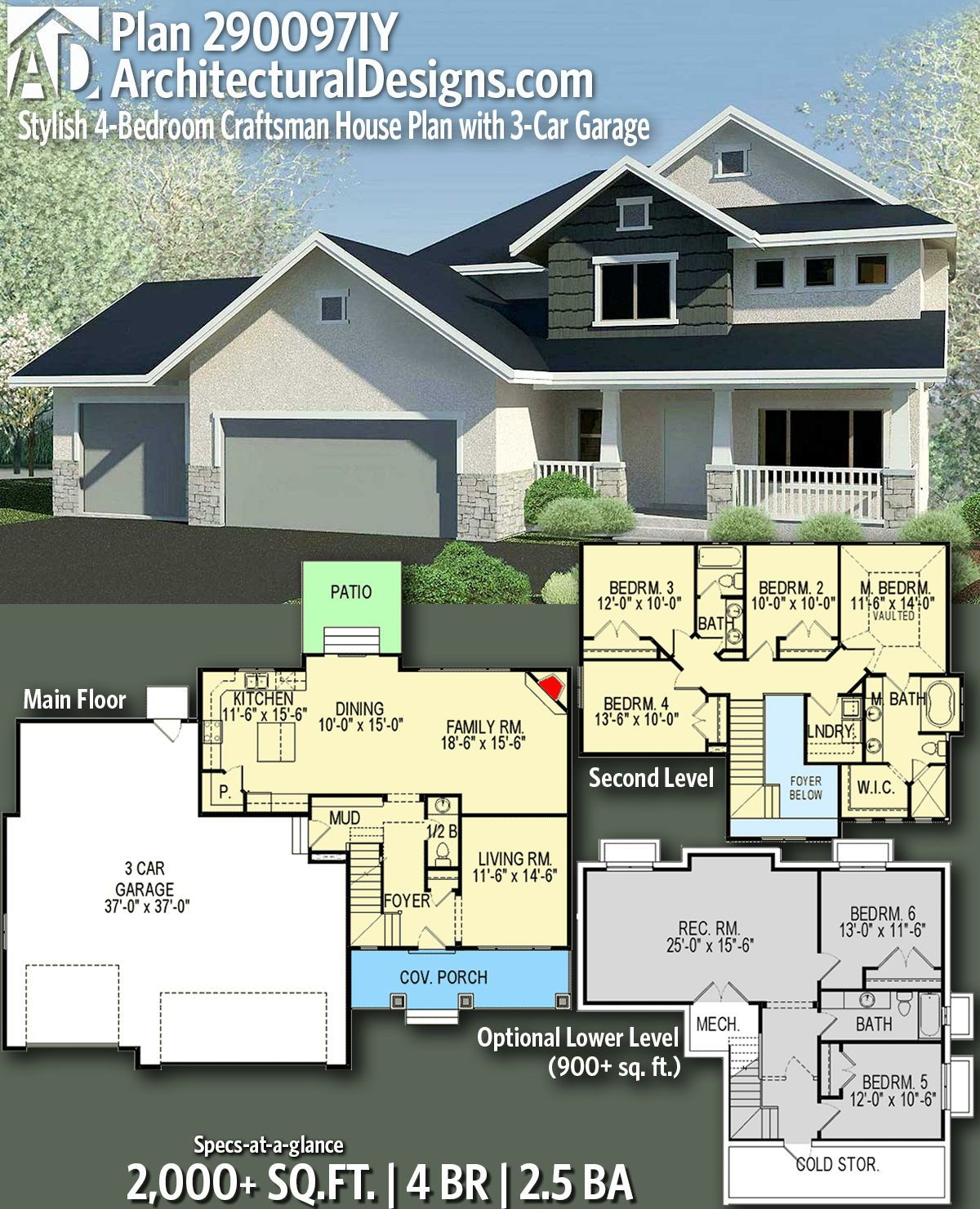Plan 290097iy Stylish 4 Bedroom Craftsman House Plan With 3 Car Garage Craftsman House Craftsman House Plans Family House Plans