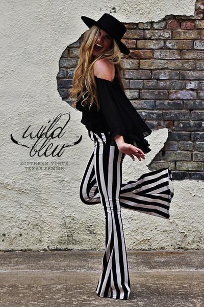 257b1a7823688 High-Waist Striped Bell Bottoms - Pockets - HIdden Back Zip - Made in  America XS S M L Waist 26 29 32 34 Hips 32 35 38 40 Length 35 36 36 36