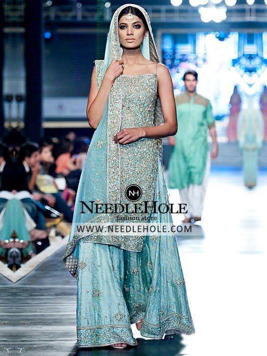 ba33c5a72 Astonishing bridal sharara dress for reception in baby blue colour ...