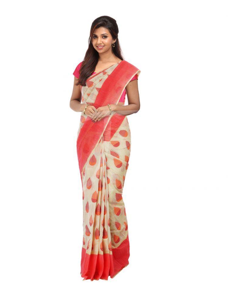 374fcec96a0f83 Semi Jute Sandal Cream Colour Saree with Red and Golden Colour Thread  Designed Dual Sized Borders