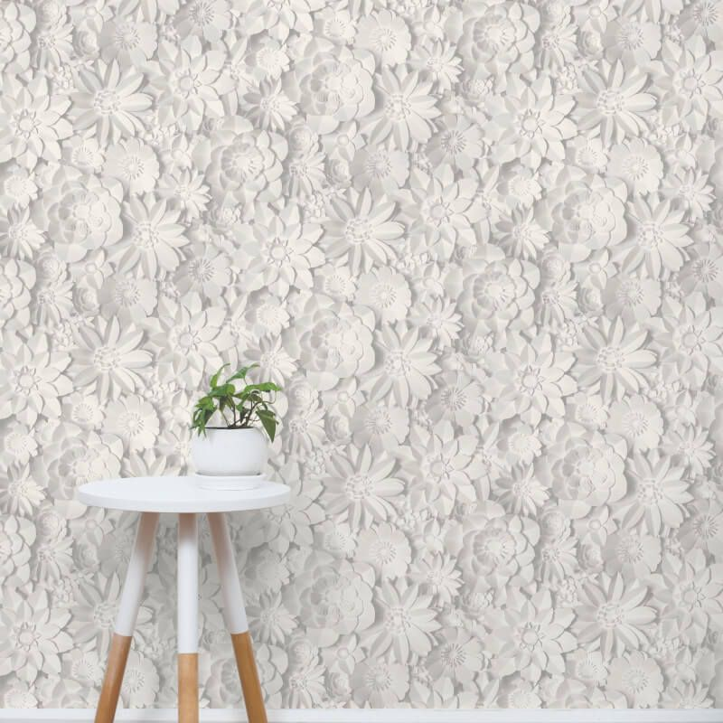 Specially Designed To Add A Modern Yet Elegant Twist To Any Room This Season This Delightful Wallpaper Grey Floral Wallpaper Grey Wallpaper Floral Wallpaper