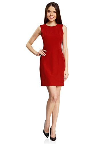 Abito oodji IT Senza Collection 44 48 Rosso Basic EU Donna Maniche ErAwEOqHf
