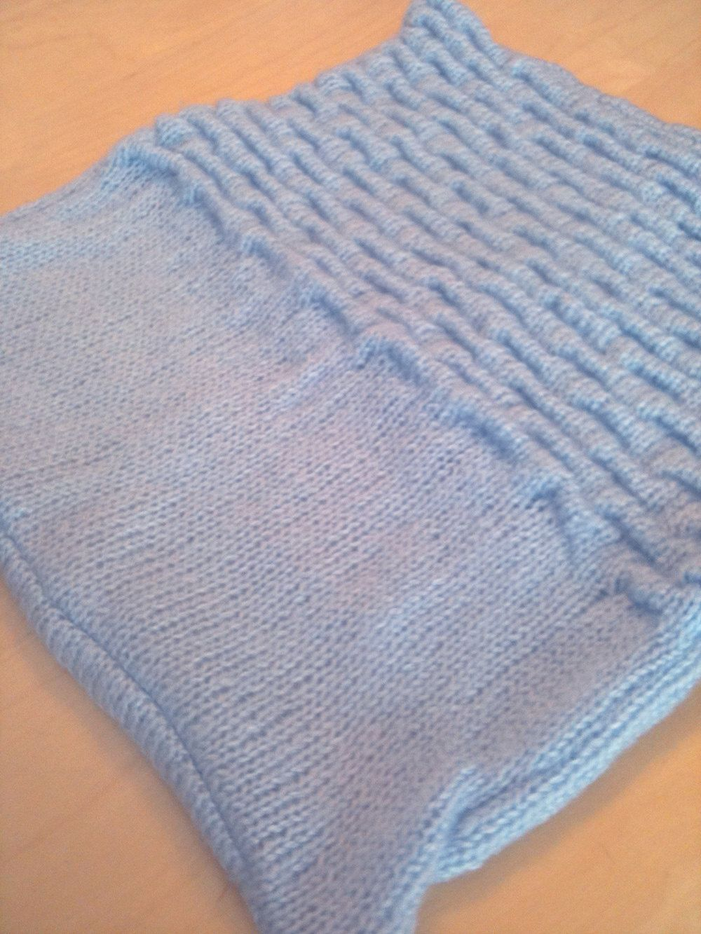 """Textured Blue Hand Knit Acrylic Blend 14 1/2"""" Square Pillow Cover. $10.00, via Etsy."""