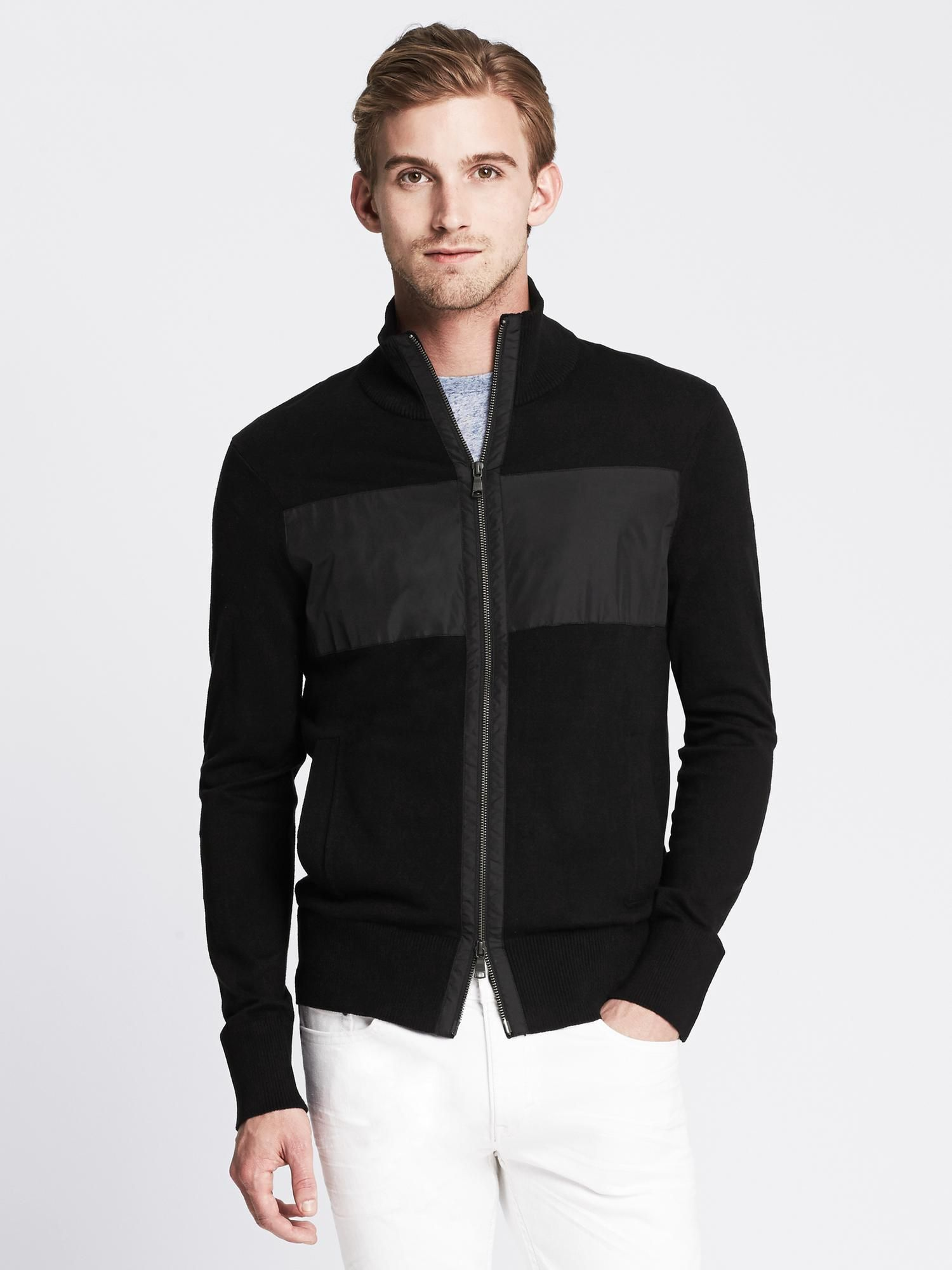 Banana Republic WovenStripe Zip Sweater Jacket Mens
