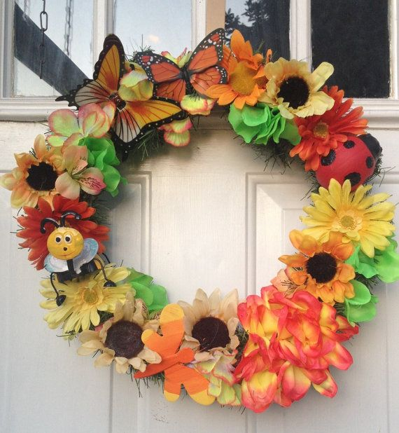 Summer Wreath-butterflies bright bold colors by Designsbytiffanyw