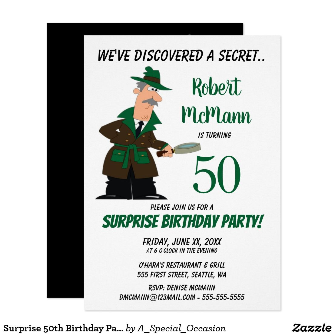 Surprise 50th Birthday Party Invitation - Secret | Adult Birthday ...