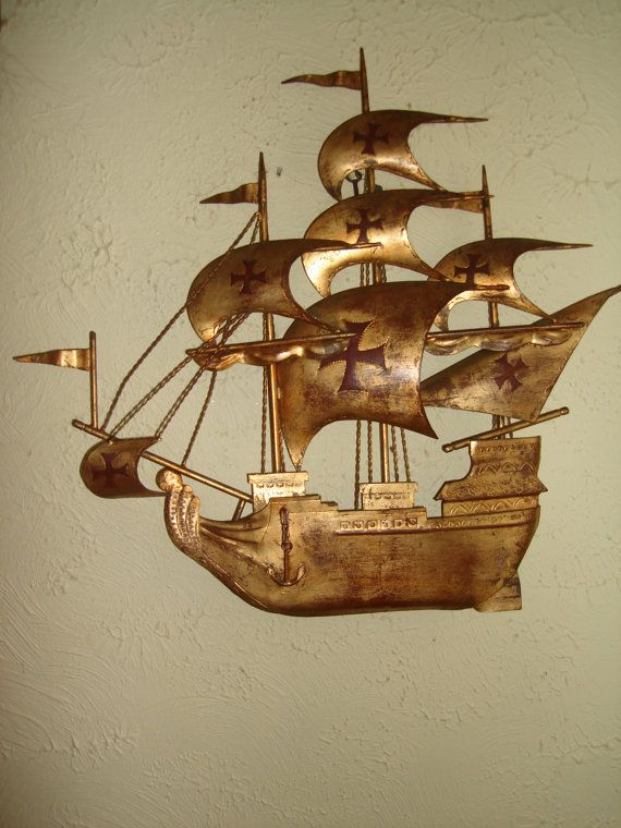 NOW HALF off vintage mid century metal wall art pirate ship 1960 ...