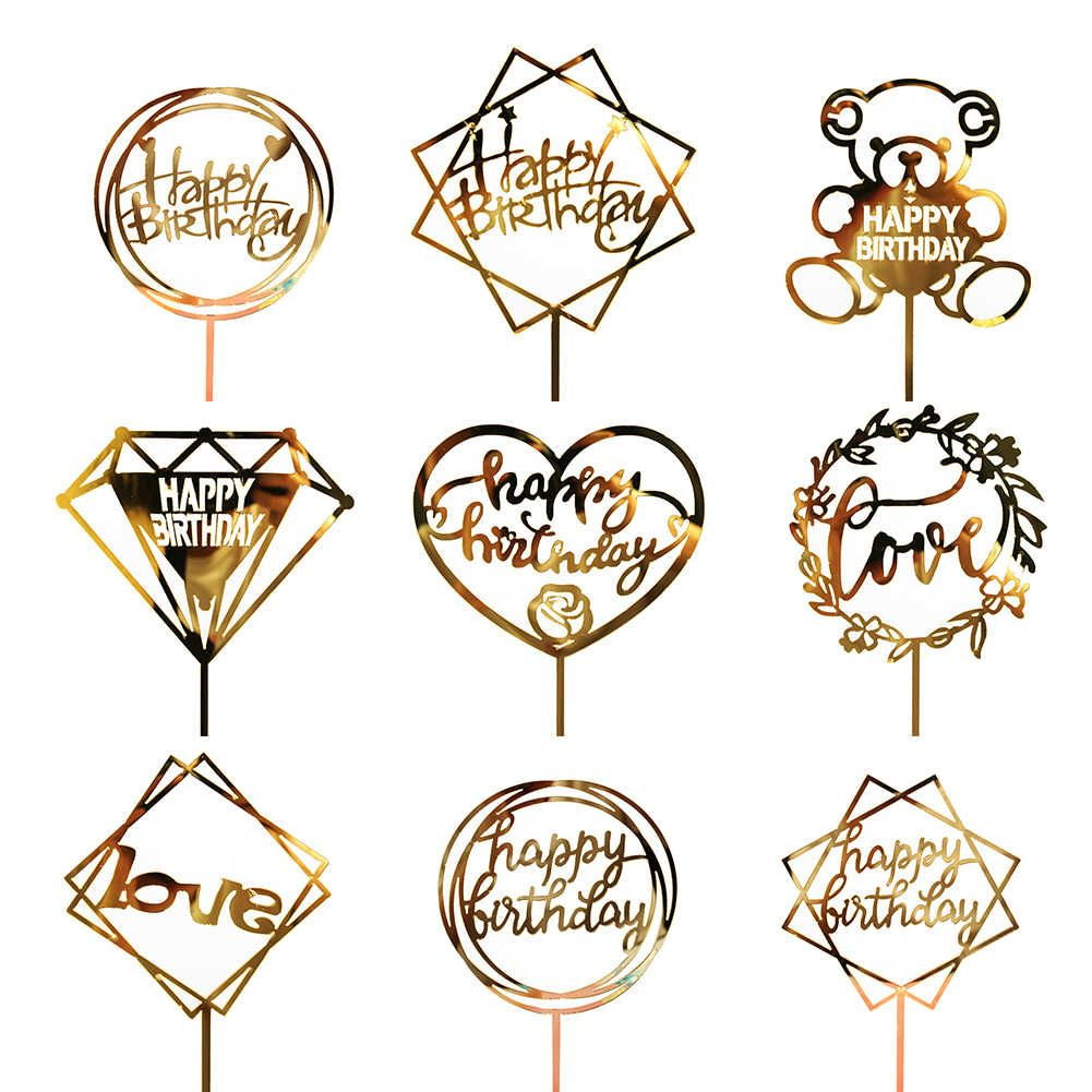 Golden Silvery Flash Cake Topper Party Supplies Acrylic Happy Birthday Cake Topper For Cupcake Birthday Party Decoration Btz1 Cake Decorating Supplies Alie Acrylic Cake Topper Happy Birthday Cake Topper Birthday Cake