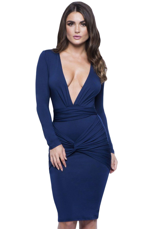 Blue slinky knotted long sleeve knee length dress products